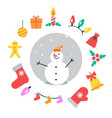 snowman and icons around it vector image