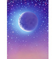 starry sky with crescent moon vector image vector image