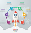 Startup circle infographics with rocket 6 options vector image vector image