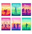 street artists around the world brochure cards set vector image