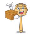 with box honey spoon character cartoon vector image