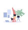 woman practicing yoga at home with laptop on floor vector image vector image