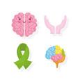 world mental health day cartoon brain ribbon vector image vector image