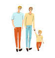 young family two dads and son together walking vector image vector image