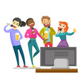 young happy multiethnic friends singing karaoke vector image vector image