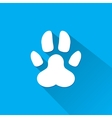 Flat dog paw silhouette with shadow vector image