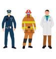 policeman doctor fireman flat icons service 911 vector image