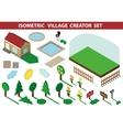 Isometric house3D Village Landscape creator kit vector image
