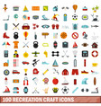 100 recreation craft icons set flat style vector image vector image