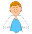 angel with white wings on white background vector image