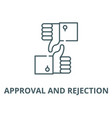approval and rejection line icon outline vector image