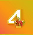 autumn four 4 number with forest leaves vector image vector image