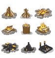 burning campfire logs collection isolated on white vector image vector image