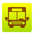 bus sign brown icon at green vector image