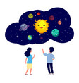 children exploring planets astronomy lesson kids vector image vector image