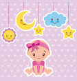 cute baby girl sitting with cartoon cloud star and vector image vector image