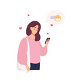 cute happy girl holding cellphone using mobile vector image