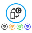 euro mobile exchange rounded icon vector image