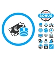 Euro Money Flat Icon with Bonus vector image vector image