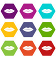 female lips icon set color hexahedron vector image vector image