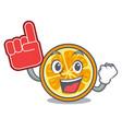 foam finger orange mascot cartoon style vector image vector image