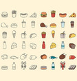 food and drink icons fast food and every day food vector image vector image