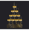gold sparkling champagne glass pyramid flat on vector image vector image