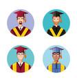 graduate men avatar character vector image vector image