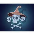halloween with skulls crossbones witch hat vector image