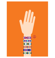 Hand with hippy friendship bracelets vector image vector image