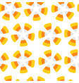 happy halloween candy corn seamless pattern round vector image vector image