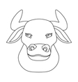 Head of bull icon in outline style isolated on vector image vector image