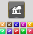house icon sign Set with eleven colored buttons vector image