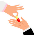 human hands giving pill vector image