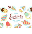 ice cream icons pattern with text enjoy summer vector image vector image