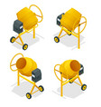 isometric set of concrete mixer icon for web vector image