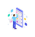 isometric ux app development and holding vector image