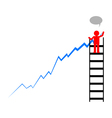 Leader draws financial profit growth chart vector image vector image
