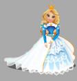 little blond princess girl in blue ball dress vector image