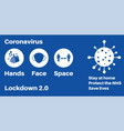 lockdown 20 hands space face covid-19 information vector image