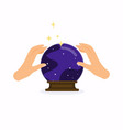 magic crystal ball with hands flat design modern vector image