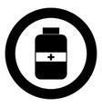 medicine bottle icon black color in circle vector image vector image