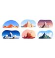 mountain rocks landscapes set vector image