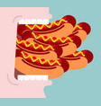 open mouth and many hot dog lot of fast food vector image