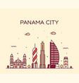 panama city skyline panama linear style vector image vector image