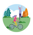 people exercising outdoors vector image vector image