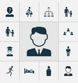 people icons set with mother with child anonymous vector image vector image
