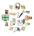 recording studio symbols icons set cartoon style vector image vector image
