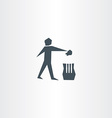 recycling trash bin man symbol garbage icon vector image