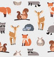 seamless pattern with different cute cartoon vector image vector image